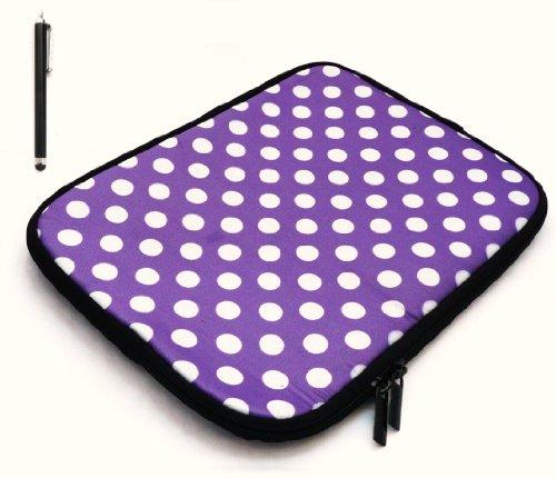 emartbuy B&le Pack Von Black Kapazitive/Stylus Pen und Polka Dots Violett/Weiß Wasserfesten Neopren Soft-Zip Fall/Abdeckung Für Msi Windpad 100W Tablet (10-11 Zoll Tablet/Ereader)