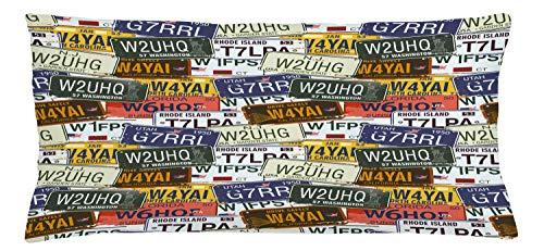 ABAKUHAUS USA Throw Pillow Cushion Cover, Retro American Auto License Plates Utah Washington Rhode Island North Carolina Print, Decorative Square Accent Pillow Case, 36 X 16 Inches, Multicolor