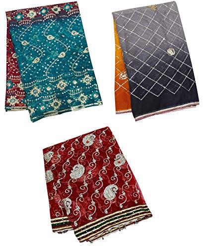PEEGLI Abrigo De Mujer India Multicolor Tradicional Dupatta Vintage Mezcla Étnica Tela Estola Paquete De 3 Piezas DIY Arte Decoración Tela Bordado Hijab