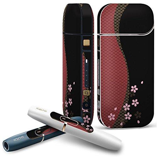 IQOS 2.4 plus 専用スキンシール COMPLETE アイコス 全面セット サイド ボタン デコ クール フラワー 和柄 桜 黒 000049