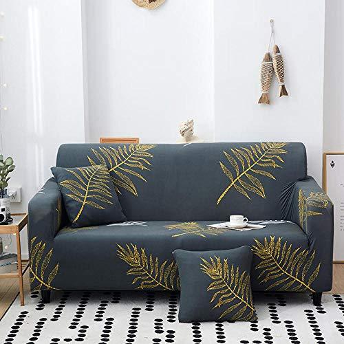 Funda de sofá de 1 Plazas Funda Elástica para Sofá Poliéster Suave Sofá Funda sofá Antideslizante Protector Cubierta de Muebles Elástica Hojas de Color Amarillo Dorado Funda de sofá