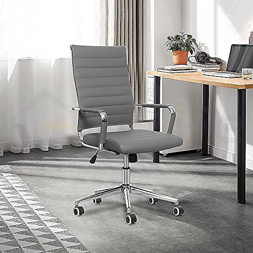 eclife Office Chair Desk Computer Ribbed Modern - Adjustable Height Ergonomic Leather Tilt Arm Sleeves Lumbar Support High Back Executive Meeting Conference Chrome Wheel Caster