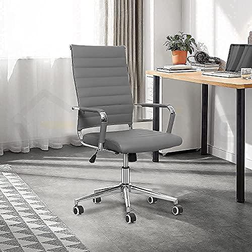 eclife Ergonomischer Bürostuhl aus geripptem Leder mit neigbarer Rückenlehne, höhenverstellbarer Sitz und bequemer Armlehne, um 360 Grad drehbar, verchromtes Lenkrad mit Gummi-Beschichtung