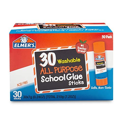 Elmer's All Purpose School Glue Sticks, Washable, 7 Gram, 30 Count