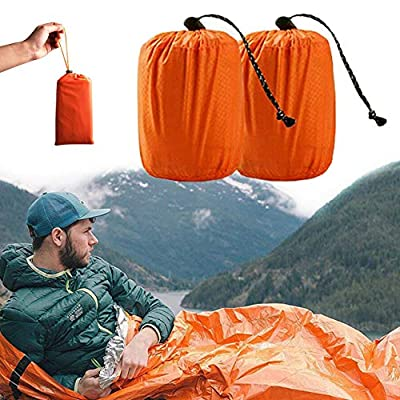 Ksmiley Emergency Sleeping Bag 2 Pack Lightweight Survival Sleeping Bags Shelter Tent, Waterproof Thermal Bivy Sack Portable Compact Camping Blanket for Outdoor, Hiking