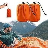Ksmiley Emergency Sleeping Bag 2 Pack Lightweight Survival Sleeping Bags Shelter Tent, Waterproof...