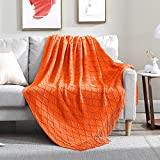 Walensee Throw Blanket for Couch, 50 x 60 Orange, Acrylic Knit Woven Summer Blanket, Lightweight Decorative Soft Nap Throw with Tassel for Chair Bed Sofa Travel Picnic, Suitable for All Seasons