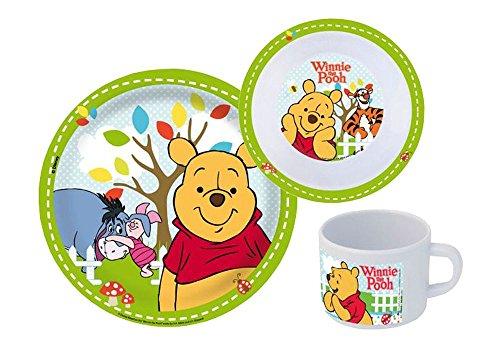 p:os 68934 Disney Winnie the Pooh Frühstücksset, Teller, Schale und Becher, 3-teilig