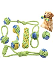 TIM Dog Rope Toys,Puppy Chew Teething Rope Toys Set of 8 Durable Cotton Dog Toys Squeak Toys for Playing Playtime and Teeth Cleaning Training Tug-of-War Balls Dog Bones