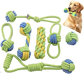 TIM Dog Rope Toys,Puppy Chew Teething Rope Toys Set of 7 Durable Cotton Dog Toys Squeak Toys for Playing Playtime and Teet...