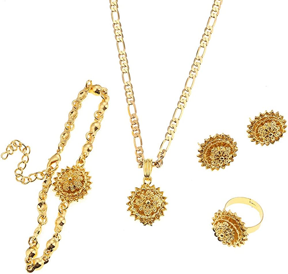 BESI Ethiopian Habesha Trendy Necklace Earrings Bracelet Ring Accessories for Ethiopian Women Jewelry Set