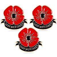 Nzztont 3個入り レスト ウィ フォーゲット ポピー ブローチ ピン ブローチ ヒーロー 兵士 退役軍人 日 ジュエリー