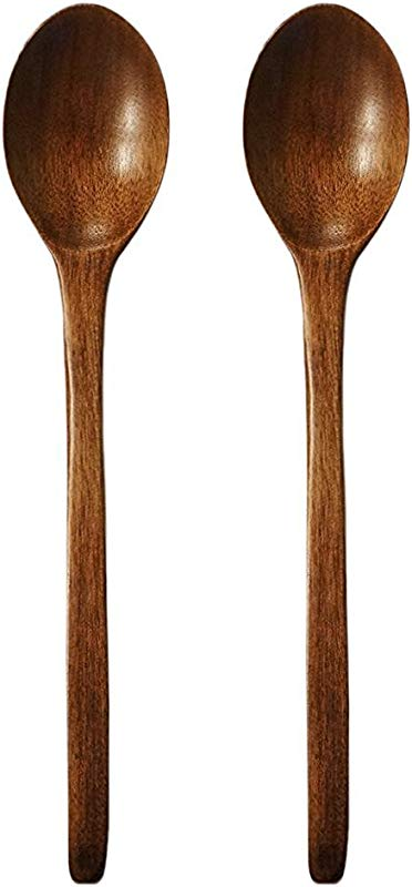 9 Wooden Soup Spoon Walnut High Quality Natural Oil Finish Non Stick All Purpose Spoon 2 Pcs