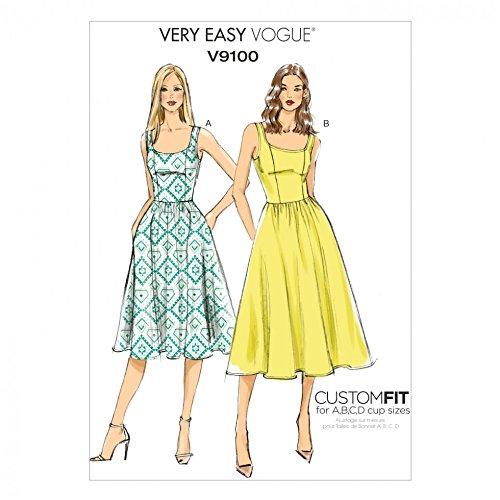 Vogue Damen Easy Schnittmuster 9100geraffter Rock Kleider mit Cup Größen + GRATIS Minerva Crafts Craft Guide