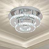 Ganeed Crystal Ceiling Light,Flush Mount Ceiling Lights Fixture,Modern LED Ceiling Lamp Chandelier Lighting for Dining Room Bedroom Living Room Foyer(36W/3000-6500K)