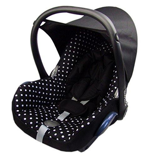 BAMBINIWELT Ersatzbezug für Maxi-Cosi CabrioFix 6-tlg, Bezug für Babyschale, Komplett-Set SCHWARZ WEISSE PUNKTE