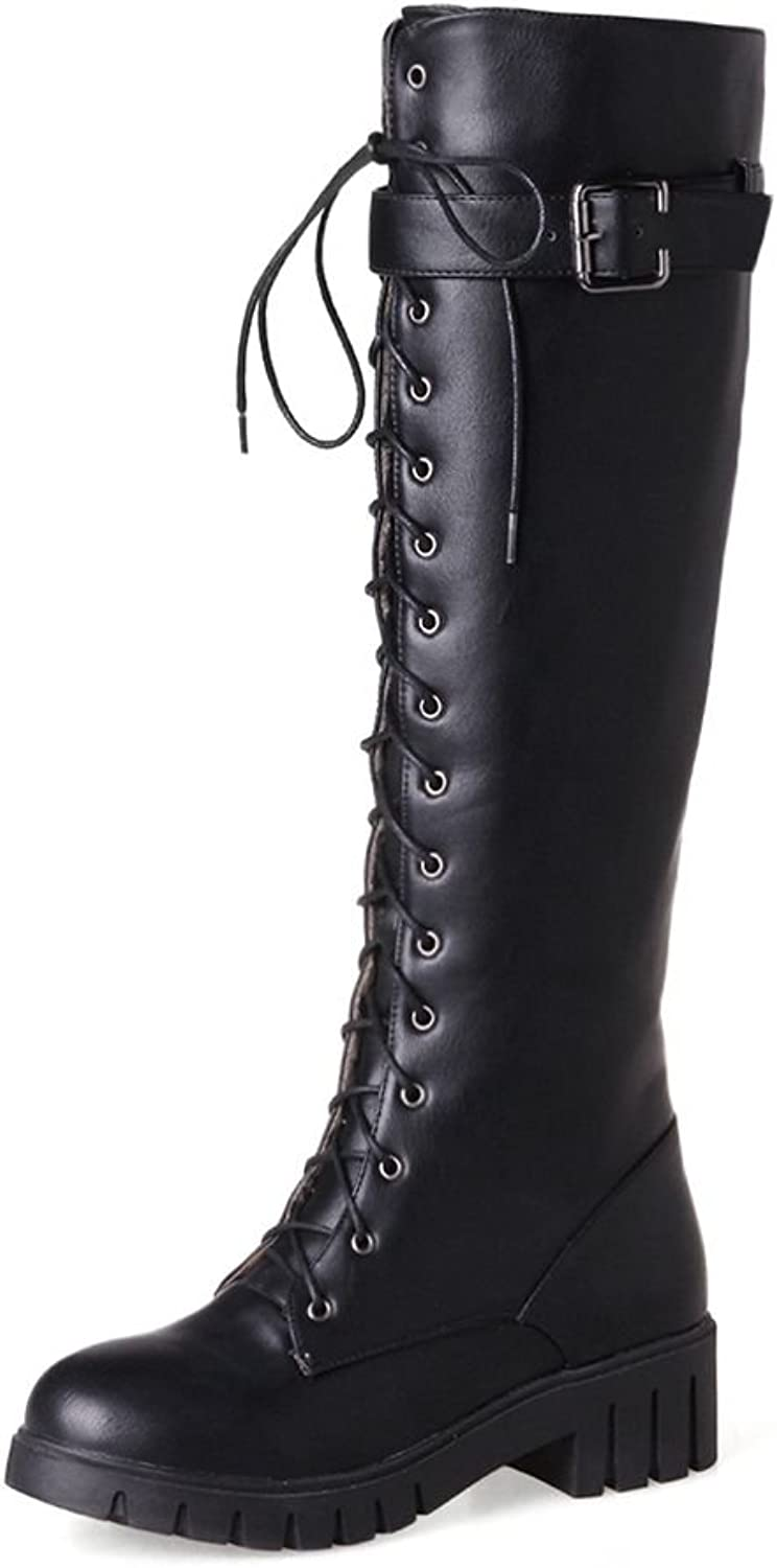 KingRover Women's Fashion Strappy Lace-Up Round Toe Knee High Sexy Ladies Combat Stacked Heel Dress Boot