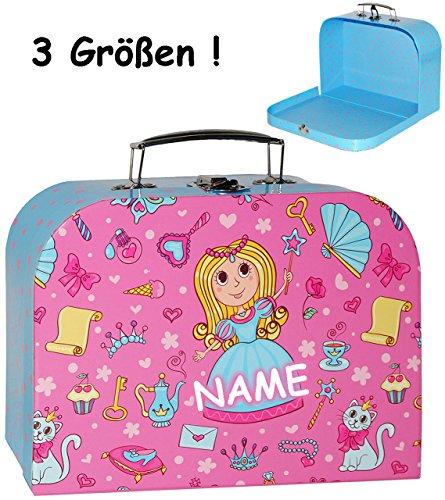 alles-meine.de GmbH 3 TLG. Set _ Kinderkoffer / Koffer - MITTEL -  Prinzessin & Herzen - rosa / pink  - incl. Name - ideal für Spielzeug und als Geldgeschenk - Mädchen & Jungen..