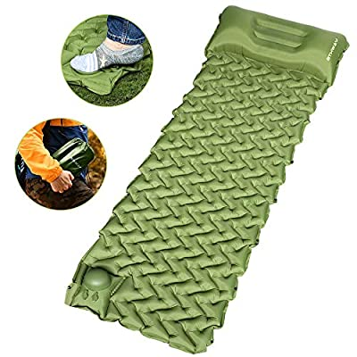 OTHWAY Camping Sleeping Pad Self Inflating Camping mat Foot Press Inflatable Pad Air Mattress with Pillow for Backpacking, Traveling, Hiking (Green)