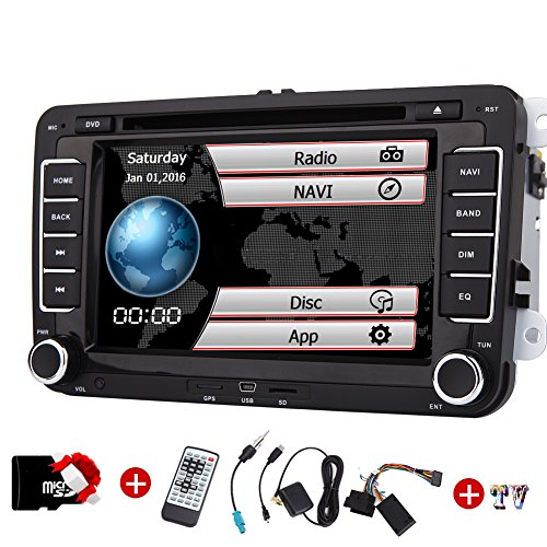 Doppia 2DIN autoradio per VW Volkswagen Eincar GPS 7inch autoradio con GPS Can Bus di navigazione FM AM Autoradio Bluetooth Dash HD 1080P Car DVD Player + TV + GPS Map Carta