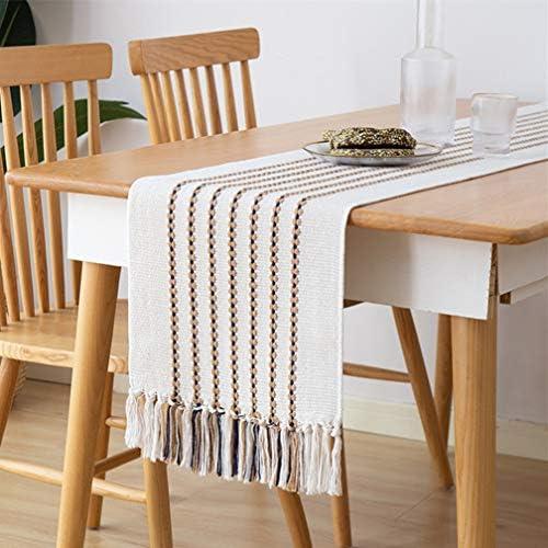 Monibana Coffee Stripe Handmade Cotton Woven Tassels Table Runner Modern Farmhouse Boho Dining product image