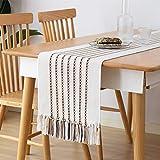 Monibana - Camino de mesa con franja de café, hecha a mano, de algodón, para decorar la mesa de comedor, estilo rústico, boda, fiesta, café, 86 pulgadas, color blanco marfil