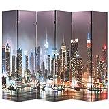 Vislone Plegable Biombos Diseño de New York de Noche Biombo Divisor Separador de Habitaciones Espacios Divisoria Estructura de Madera 228x180cm