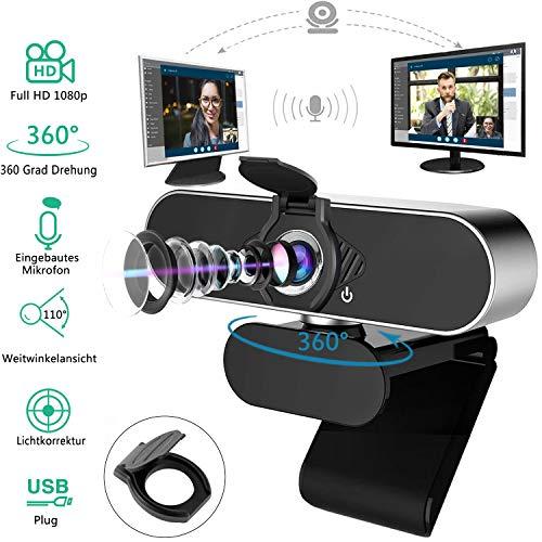 HD 1080P Webcam mit Mikrofon 2-Millionen-Pixel PC Webcam mit Datenschutz Verschluss,für Videoanrufe,Spiele,Live-Streaming und Konferenzen USB Plug&Play Für Skype/Zoom/YouTube/Mac/Linux/Window