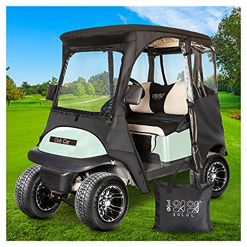 10L0L 2 Passenger Deluxe Golf Cart Driving Enclosures for Club Car Precedent, Waterproof Portable Transparent Golf Cart Cover Storage Enclosure Black- 4-Sided (Roof up to 58' L)
