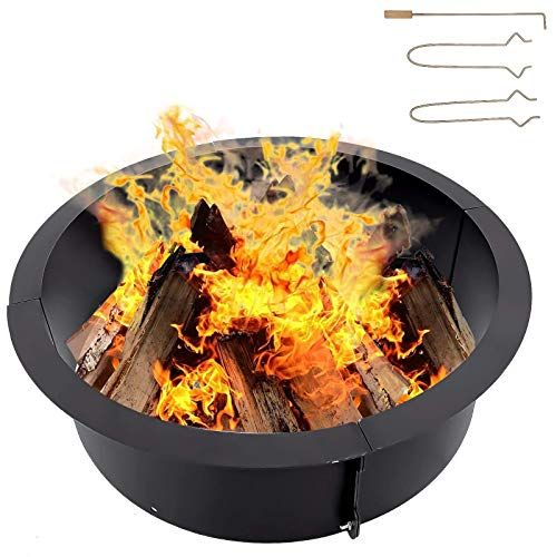 Karpevta Fire Pit Ring 45x39x10 inches Fire Ring Insert for Fire Pits DIY Campfire Liner - Portable Wood Burning Ring (45x39x10 inches)