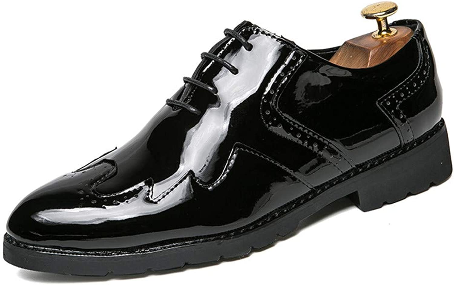 Patent leather Men's casual shoes vents handmade leather lace mirror oxford shoes Formal wear Dress shoes (color   Black, Size   8.5 UK)