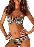 Aleumdr Sexy Costume da Bagno Donna a Vita Bassa Costume da Bagno Donna a Righe Due Pezzi Bikini a Triangolo Donna Bikini Set Halterneck