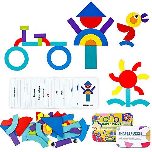 yoptote Juguetes Montessori Puzzles Infantiles Juegos Educativos de Ciencias Tangram Madera Diseño Tarjetas Día del Niño y Niñas 3 4 5 6 Años