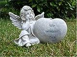 Home3010 ´XL - Grabengel mit Herz Grabschmuck Grabdeko Engel *Wir vermissen Euch* 24 cm