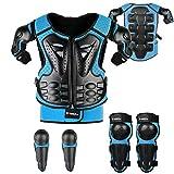 Fansport 5 Piezas Motos Ropa Protectora Niños,Rodillera Transpirable Protector de Pecho Equipo de protección para Motocross,Ciclismo,Esquí,Patinaje (Blue)