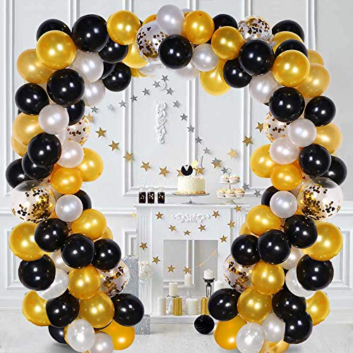 Balloon Garland Kit White & Black & Gold 110 Pcs Latex Balloons Arch Garland Pack for Bridal Shower Birthday Party Anniversary Graduation Centerpiece Backdrop Decorations