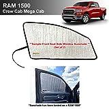 Side Window Front Seat Reflective Sunshade Custom Fit for Dodge 2019 2020 2021 RAM 1500 - CrewCab - Mega Cab - 4Dr 4Door Pickup Truck (2pcs)