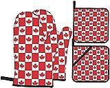 Juego de 4 manoplas y agarraderas de horno con bandera de Petro-Canadá, resistentes al calor,...