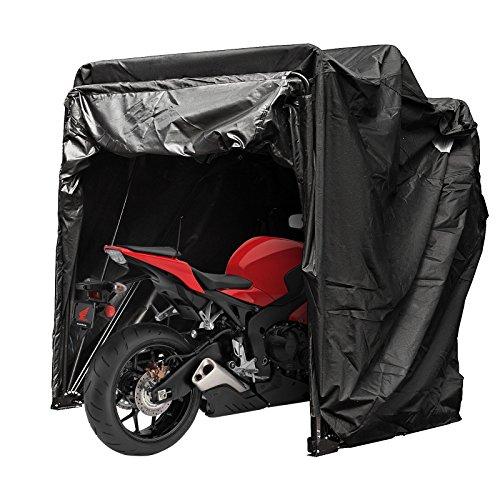 Mophorn Motorradabdeckung Shelter Storage Wasserdicht Motorrad Abstellzelt Oxford 600D Schwarz Farbe Motorrad Shelter Shed mit TSA Code Lock & Tragetasche (Schwarz Farbe mit Schloss)