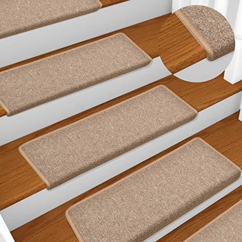 vidaXL Alfombras de peldaños de escalera 15 uds marrón claro 65x25 cm
