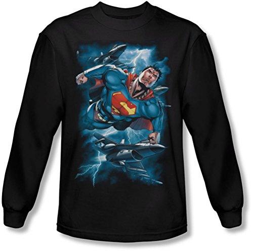 Superman - - Stormy Vol à manches longues T-shirt pour hommes, Large, Black