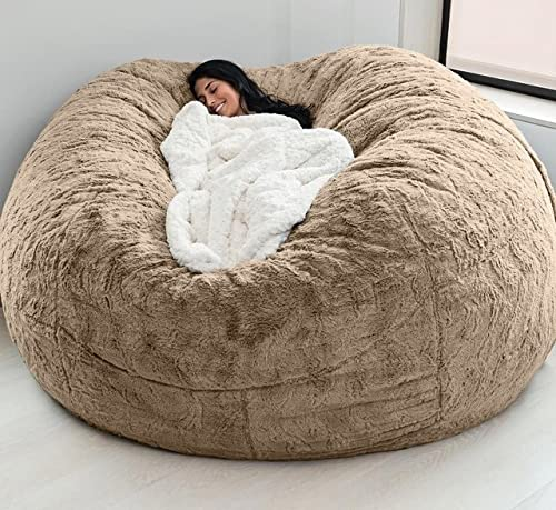 Gigantyczny pokrowiec na krzesło worek fasoli (bez wypełniacza), 6/7ft Khaki wewnętrzna wkładka do woreczka fasoli można prać w pralce pokrowce na sofy (Color : Brown, Size : 72x35inch)
