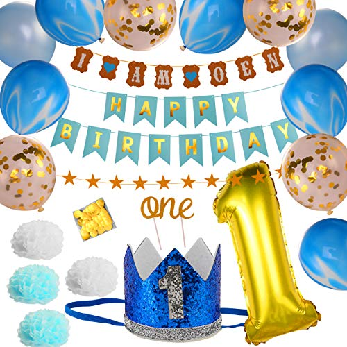 iFCOW Birthday Party Supplies Set, 1st Birthday Party Decor Supplies Set Latex and Foil Balloons Cake Topper Happy Birthday Banner Paper Flowers