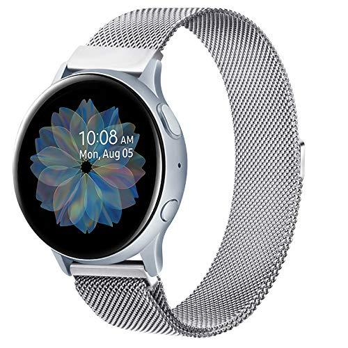 ZGCE Kompatibel mit Samsung Galaxy Watch Active/Active 2 40mm/44mm Armband, 20mm Edelstahl Mesh MetallUhrenarmband für Gear Sport/S2 Classic/Garmin Vivo Active 3/Watch 3 41mm (20mm, Silber)
