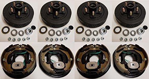 2-Pack Trailer Brake Backing Plates 10 in. (2LH 2RH) w/4 Hub/Drum Kit (5 on 4.5)