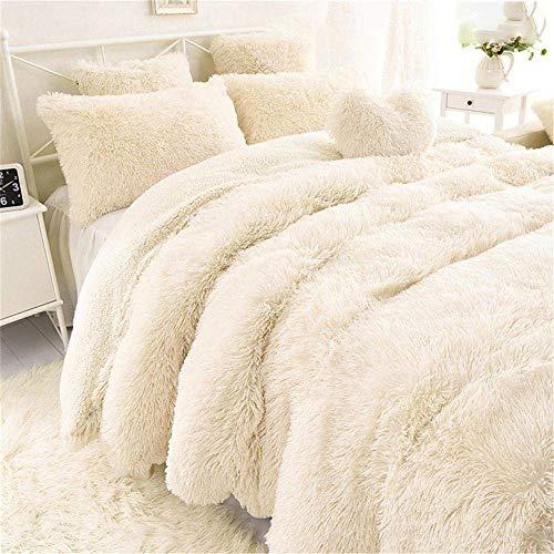 Blivener Superweiche, lange Shaggy-Überwurf, flauschige Kunstfell, Decke, warm, gemütlich, Tagesdecke, weiß, 160 x 200 cm