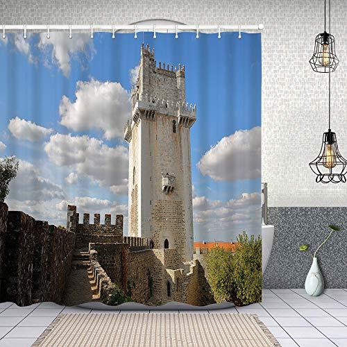 MAYUES Cortina de Ducha Impermeable Torre del Castillo de beja Portugal Cortinas baño con Ganchos Lavable a Máquina 72x72 Inch