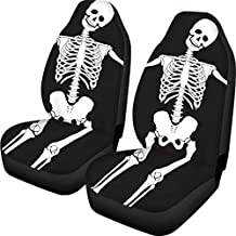 TSVAGA Novelty Skull Zombie Skeleton Car Seat Covers Full Set Front Only Rear Split Seats Protection Personalized Vehicle Accessories Premium Covers for Men and Women Universal Fit Pack of 2