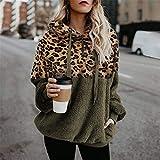 FDJIAJU Suéter De Mujer,Tejido De Punto,Suéter De Leopardo De Moda para Mujer Suéter De Sherpa De Gran Tamaño con Capucha Suéter Mullido Tops para Mujer Jersey Cálido Streetwear Tallas Grandes, Verd