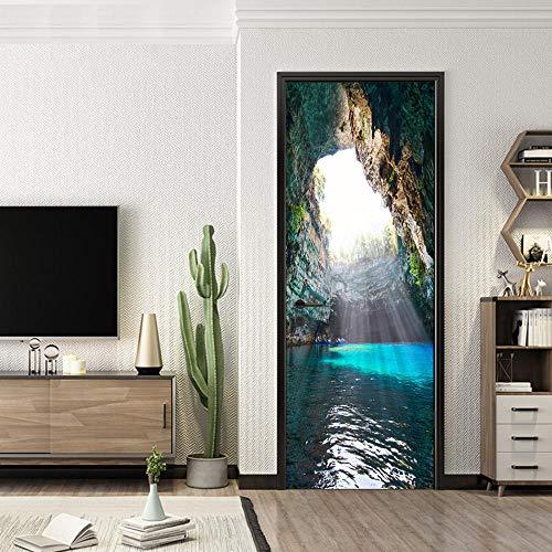 Etiqueta De Puerta 3Dpegatinas De Puerta De Simulación 3D Para Paisajes De Cuevas